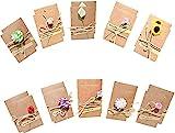 20 Stück Grußkarte,Vintage Postkarten, getrocknete Blumen mit Postkarte, Karten mit Umschlag, handgefertigt, Dankskarten,EinladungskarteRetro-Kraftpapier für Grußkarten