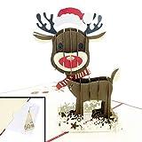 Weihnachts-Karte 3D Pop Up mit Umschlag – Rentier Karte zu Weihnachten – Ausgefallene Klappkarte mit extra Geld-/Gutschein-Kuvert