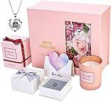 SUNHEY Romantisches Rosen Geschenke für Frauen, Mama und Freundin, Halskette Damen Silber 925 & Duftkerze, Geschenke für Weihnachten, Geburtstag, Valentinstag Box - Silber
