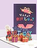 SUNYRISY Pop-Up Geburtstagskarte, Geschenkbox Design 3D Pop Up Karte mit Happy Birthday Glückwünsche, Geburtstagskarten mit Umschlag für Familie, Kollegen, Freunde, Kinder, Geliebte, Eltern