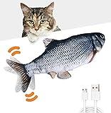 Huarumei Katzenspielzeug Elektrisch Fisch, Katze Spielsachen Fisch USB mit Katzenminze, Interaktives Katzen Spielzeug Zappelnder Fisch für Spielen, Beißen, Kauen und Treten