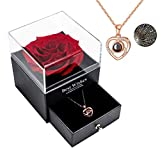 Yamonic echte Rose mit Liebe Sie Halskette Schmuck Geschenk Box-Handmade Eternal Real Rose zum Valentinstag Muttertag Jubiläum Hochzeit Geburtstag romantische Geschenke für Sie