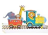 MOKIO® Pop-Up Karte für Kinder – Zug mit Tieren – 3D Geschenkkarte zum Geburtstag, als Gutschein oder für Geldgeschenke, Klappkarte mit Umschlag