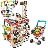 deAO Kinder Rollenspiel 48 Stück Supermarkt Set Superstore Shop Spielzeug Kinder Supermarkt mit Licht, Ton, funktionierendem Scanner, Einkaufswagen und Zubehör inklusive