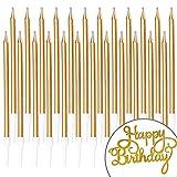 PartyWoo Geburtstagskerzen, 25 Stück Geburtstagskerzen, Happy Birthday Tortendeko, Kerzen Geburtstag, Geburtstag Kerzen, Tortendeko Geburtstag, Geburtstagskerzen für Geburtstagsdeko (Champagner Gold)