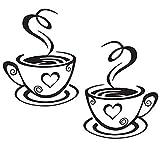 Lumanuby Wandtattoos Küche Wanddeko Kaffee Wandsticker Wandaufkleber für Glasfenster Café Esszimmer Und Restaurant