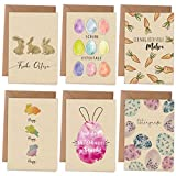Papierdrachen Osterkarten | 6 frühlingshafte Grußkarten als Klappkarte inklusive Umschlag zur Osterzeit - Grüße an die Familie - Stilvolles Design zu Ostern - Motiv Aquarell - Set 2