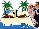 LIN17580, Pop Up Karte Hochzeit, Hochzeitskarte, 3D Karten Grußkarten Hochzeit, Hochzeitsglückwunsch,3D Hochzeitseinladungen, Hochzeitskarte Glückwunsch, Südsee Karibik Hochzeit, N340