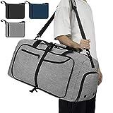 NEWHEY Reisetasche Groß 65L Faltbare Reisetaschen Leichte Sporttasche für männer mit Schuhfach für Weekender Herren Damen Duffel Taschen Grau