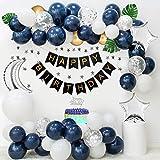 APERIL Geburtstagsdeko Mann, dunkelblaue weiße Luftballons, Silberne Konfetti-Luftballons, metallische goldene Luftballons, Happy Birthday Banner, Silver Star Bunting Banner, Palmblätter, Cake Topper