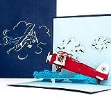3D Pop Up Karte 'Flugzeug' - Geburtstagskarte, Geschenk & Einladung zum Geburtstag - Flugzeugkarte mit 3D Modell Propeller-Flugzeug als Gutschein, Geschenkidee & Geschenkverpackung zur Flugreise