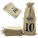 Shintop 10 Stück Weinbeutel, 14 x 6 1/4 Zoll Jute Weinflasche Geschenkbeutel mit Kordelzug für Blinde Weinprobe (Nummeriert, Braun)