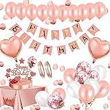 Geburtstagsdeko Rosegold Deko,Aivatoba Happy Birthday Girlande Decorations Balloon, Rosegold Konfetti Luftballons, Tischdeko Geburtstag Deko zum Mädchen 18th 30th