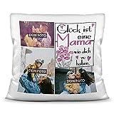 Print Royal Foto-Kissen inkl. Füllung zum Selbstgestalten - für Mama - mit eigener Collage und Spruch - Bestes Fotogeschenk/Geburtstagsgeschenk - Kissen Polyester - Weiß flauschig