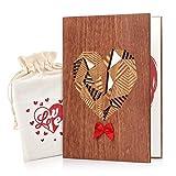Giiffu handgefertigte Grußkarte Karte Holz , Muttertagskarte Jubiläumskarte mit einzigartiger Geschenktüte und Geschenkbox, Geschenke für Frau, Ihn oder ihren Jahrestag
