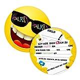 12 Einladungskarten für Geburtstag und Partys, die Smiley Karten sind die perfekten Einladungen für Mädchen und Jungen zum Kindergeburtstag und Anderen Feiern (12 Einladungskarten ohne Kuvert)
