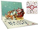 Weihnachtskarten, Deesospro® Karte 3D pop up Grußkarte mit schönen Papier-Cut, bestes Geschenk für Weihnachten, Umschlag enthalten, Chrismas Geschenkkarte, Santa Claus
