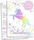 12x GLITZER Einladungskarten Kindergeburtstag | Verzaubertes Einhorn im bunten Sternenregen | Mädchen & Jungen | Regenbogen Einladung Geburtstag Kinder Pferde Geburtstagseinladung Einladungen Rosa