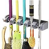 Vicloon Besenhalterung, Besen Mop Halter mit 6 Haken und 5 Schnellspannern, Ordnungsleiste Wandhalter für Küche Badezimmer Garten Multifunktionen - Grau