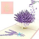 Muttertagskarten, Geschenke Für Frauen, Pop Up Karte, Lavendel 3d Grußkarte ist ein Besonderes Geschenk für Muttertag, Geschenke für Mütter und Freunde für Feiertage und Geburtstage
