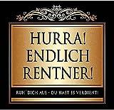 Udo Schmidt Aufkleber Flaschenetikett Etikett Hurra Endlich Renter gold elegant