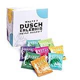 WALTZ7 Original Duschbomben Set, 16 Stück mit 8 Düften, Aromatherapie mit natürlichen ätherischen Ölen, Wellness Geschenkbox, Qualitätsmarke aus Österreich, Dankeschön Geschenk für Frauen