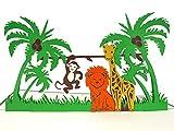 MOKIO® Pop-Up Karte für Kinder – bunte Tiere im Dschungel: Löwe, Giraffe & Affe – 3D Karte zum Geburtstag, Gutschein Klappkarte für den Zoo
