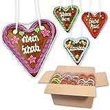 10 Stück Lebkuchenherzen mit verschiedenen Sprüchen im Mischkarton - 14cm - Lebkuchenherz Mitbringsel und Deko für Geburtstagsparty - Lebkuchen Herzen günstig kaufen   LEBKUCHEN WELT