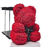 POZY Rosenbär mit Geschenkbox - perfektes Geburtstagsgeschenk für Frauen & Männer zum Jahrestag - exklusiver Teddybär aus roten Rosen zur Hochzeit, Muttertag & Valentinstag - Geschenk für Freundin