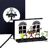 Pop Up Karte 'Candlelight Dinner', Geburtstagskarte & Einladungskarte ins Restaurant – als Geschenkgutschein Gastro, Gutschein Kochen, Geburtstagskarte, Geschenkverpackung oder Geldgeschenk