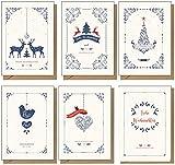 48 x recycelte Weihnachtskarten mit modernem Design