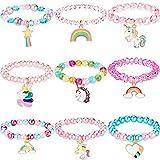 9 Stück Bunte Einhorn Armband Mädchen Einhorn Armbänder Regenbogen Einhorn Perlen Armband für Geburtstagsfeier Gefälligkeiten (Perlen Stil)