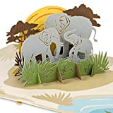 PaperCrush® Pop-Up Karte Elefanten - 3D Geburtstagskarte mit Elefant für Kindergeburtstag, Geschenkkarte für Mädchen und Jungen - Handgemachte Glückwunschkarte zum Kinder Geburtstag