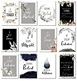 Trauerkarten 12 Stück A6 Klappkarte mit Umschlag - Beileidskarten Trauerkarten zum Abschied nehmen