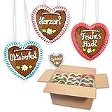 10x Lebkuchenherz im Mischkarton 10cm - Premiumqualität - versch. bayerische Sprüche   bayerische Lebkuchenherzen   saftigte Lebkuchenherzen frisch gebacken   Lebkuchen Herz bestellen LEBKUCHEN WELT