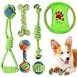 ACE2ACE Kleines Hundespielzeug Set, Welpen Kauspielzeug, Hundeseil, Spielzeug für kleine Hunde und Welpen, 100% natürliche Baumwolle, mit Frisbee, Kugelseil, Seilknochen (6-teiliges Set)