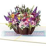 """PaperCrush® Pop-Up Karte Blumen """"Bunter Blumenkorb"""" - 3D Blumenkarte für Freundin, Frau oder Mutter (Geburtstagskarte, Runder Geburtstag, Gute Besserung) - Popup Glückwunschkarte mit Blumenstrauß"""