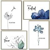 beriluDesign® Trauerkarten mit Umschlägen, 4 Klappkarten und 4 Briefumschläge aus Kraftpapier