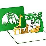 3D Pop Up Karte'Tiere im Zoo' - Geburtstagskarte, Einladungskarte, Gutschein Kindergeburtstag Zoo mit Löwe, Giraffe & Affe
