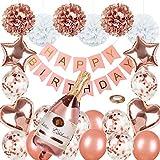 Lunriwis Geburtstagsdeko Rosegold Deko, Happy Birthday Girlande Decorations Balloon, Rosegold Konfetti Luftballons, Mädchen Frauen Geburtstag Party Zubehör