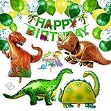 XXL Dinosaurier Geburtstag Deko Set, Happy Birthday Girlande und Großer Dinosaurier Folienballons mit Cake Topper, Konfetti Luftballons für Dino Party Dekoration Urwald Dschungel Party kinder Junge