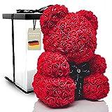 POZY® Rosenbär mit Geschenkbox - perfektes Geburtstagsgeschenk für Frauen & Männer zum Jahrestag - exklusiver Teddybär aus roten Rosen zur Hochzeit, Muttertag & Valentinstag - Geschenk für Freundin
