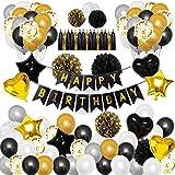 Ins Schwarz und Gold Party Dekorationen, Lapeno Geburtstag Dekorationen 98Pcs mit Happy Birthday Banner Konfetti Latex Luftballons Sterne Herz Folienballons Party Dekor (BKGD-98PCS)