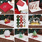 Kesote 3D Pop Up Weihnachtskarte Set, 6 Stück Glückwunschkarte mit 6 Stück Umschläge und Sticker
