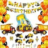 BAU Party Dekoration, Baustelle Kindergeburtstag Party Dekoration, Bagger Happy Birthday, Bagger Kindergeburtstag Deko, Baustelle Truck Bagger Luftballons, Geburtstagdeko Jungen für 2-6 Jahre