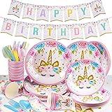 Yosemy Gebutstag Party Set Einhorn Party-Set 114-pcs Einweg Pink Mädchen Einhorn Geburtstag Geschirr Kit Teller Becher für 16 Kinder Geburtstagsgeschenk,Kindergeburtstag,Party Deko,Baby Shower