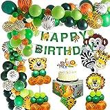 MMTX Dschungel Geburtstag Dekoration- Kindergeburtstag deko Safari Tier Happy Birthday Dekoration Banner mit Latexballons Waldtier für Jungen Geburtstag 1. 2. 3. 16. 18. 21