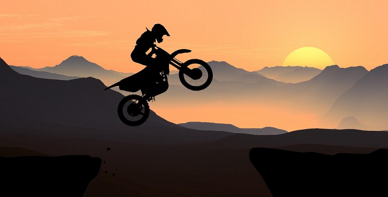 Action auf dem Motorrad
