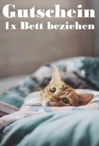 Gutscheinvorlage Bett beziehen